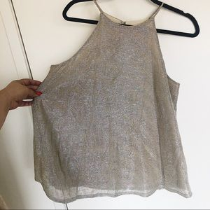 Leith shimmery gold tank top